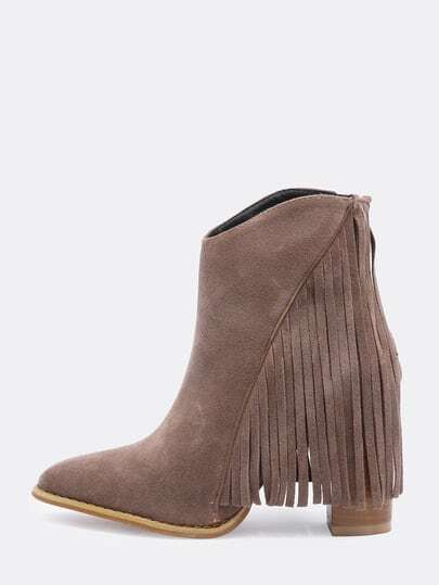 Brown Chunky High Heel Tassel Boots