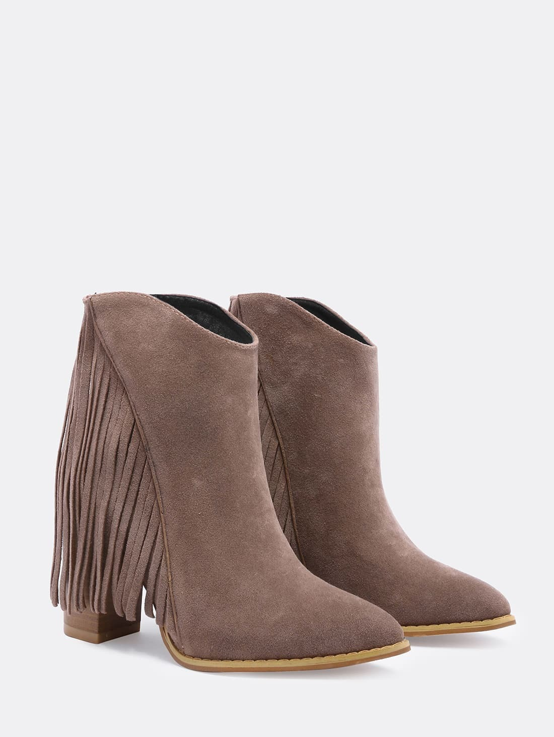 brown chunky high heel tassel boots shein sheinside