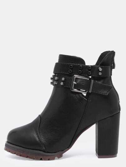 Black High Heel Buckle Strap Stud PU Boots