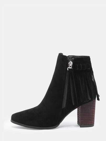 Black Chunky Heel Tassel Zipper Boots