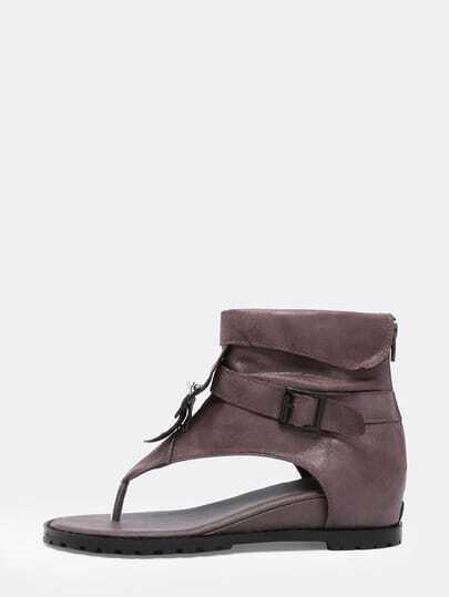 Khaki Flip Buckle Strap Sandals
