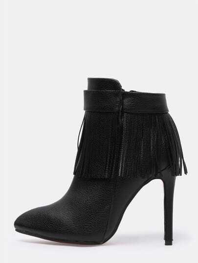 Black High Heel Tassel PU Boots