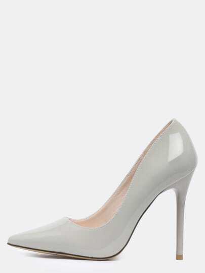 Grey Point Toe High Stiletto Heel Pumps