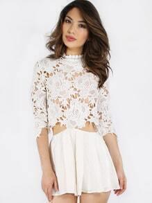 White Crochet Top Zipper Back Jumpsuit