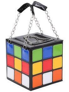 Faux Patent Rubik's Cube Handbag