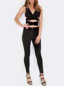 Black V Neck Zipper Back Crop Top With Pants