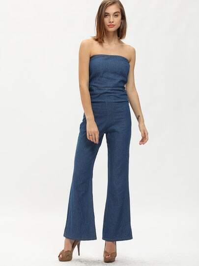 Strapless Pockets Wide Leg Denim Jumpsuit