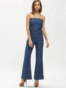 Blue Strapless Pockets Denim Jumpsuit
