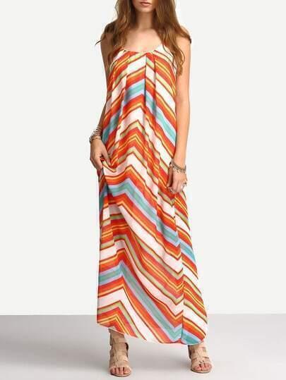 Multicolor Spaghetti Strap Hippies Boho Bohemian Chevron Print Maxi Dress