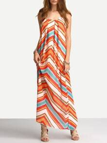 Multicolor Spaghetti Strap Hippies Boho Bohemian Chevron Print Maxi Dress
