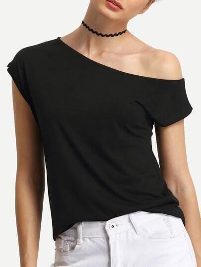Off-The-Shoulder Black T-shirt