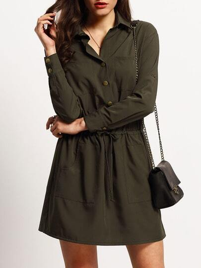 Army Green Drawstring Waist Pockets Dress