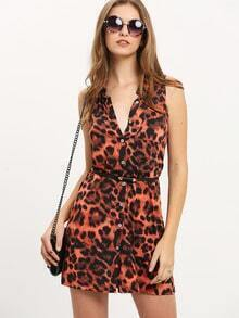 Leopard Print Sleeveless Shirt Dress