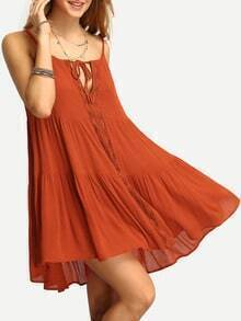 Dark Orange Spaghetti Strap Pleated Dress