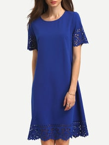 Blue Hollow Hem Shift Dress