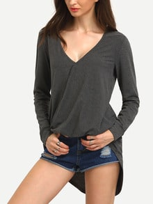 Grey Wrap Front Draped Side T-Shirt