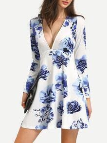 Deep V Neck Floral High Waist Dress