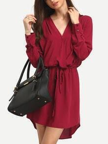 Burgundy Plunge Wrap Front Drawstring Waist Dress