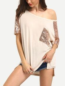 Champagne Scoop Neck Sequined Pocket T-shirt