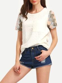 Beige Contrast Raglan Sleeve Sequined Pockets T-Shirt