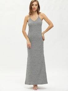 Grey Spaghettic Strap Side Split Maxi Dress