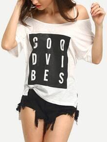 White Off The Shoulder Letter Print T-shirt