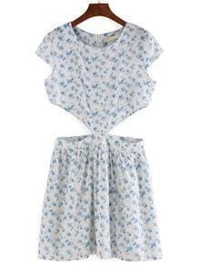 Florals Cut Out A-Line Dress