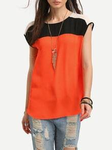 Black Orange Cap Sleeve Dip Hem Blouse