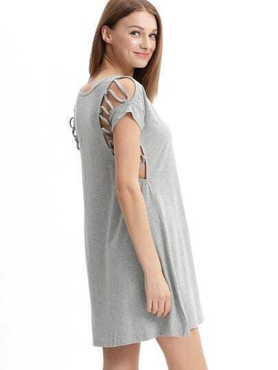 Grey Round Neck Lace Up Yoke Casual Dress