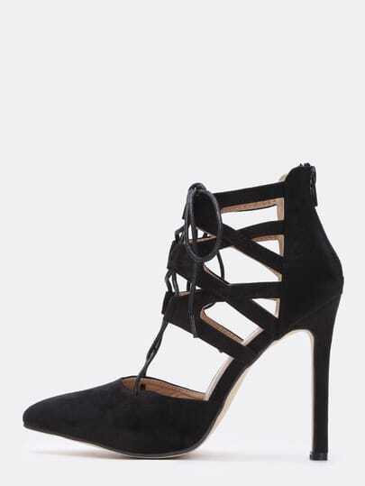 Black High Heel Bandage Point Toe Pumps