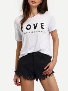 White Short Sleeve Leters Print T-shirt
