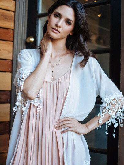 Sheer Lace Embellished Kimono