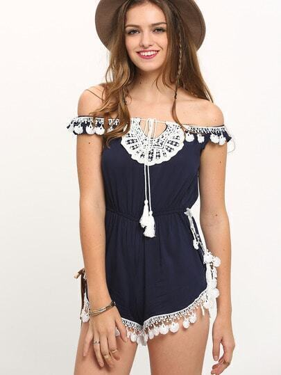 Navy Off The Shoulder Fringe Hem Playsuit