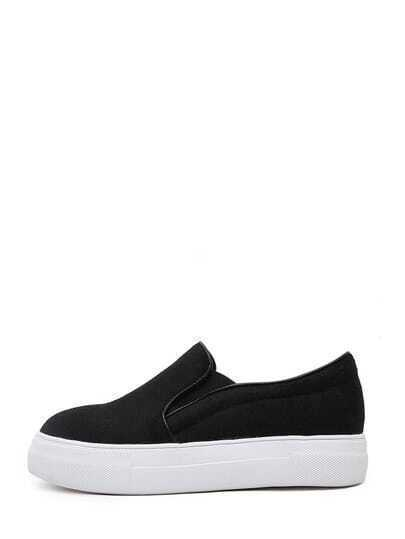 Black Felt Flatform Slip On Sneakers
