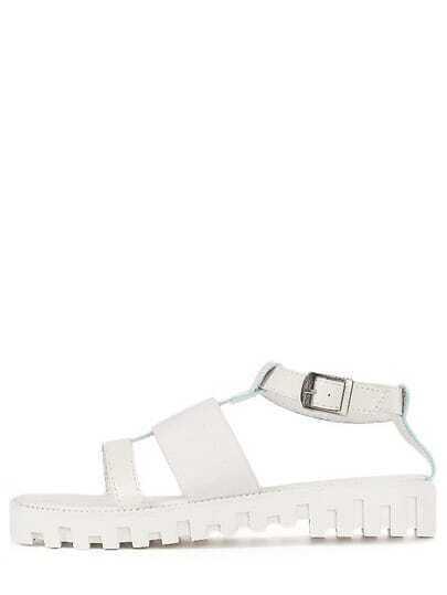 White Peep Toe Flatform Mid Heel Gladiator