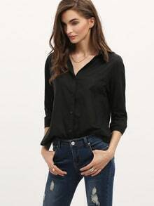 Black Lapel Long Sleeve Buttons Blouse