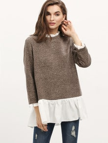 Brown White Long Sleeve Color Block Sweater