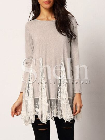 Grey Lace Insert Long Sleeve T-shirt