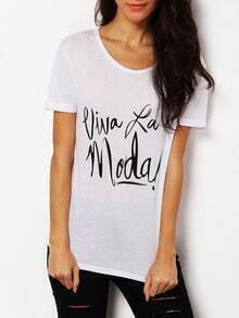 White Round Neck Letter Print Loose T-Shirt