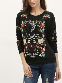 Black Round Neck Embroidered Sweatshirt