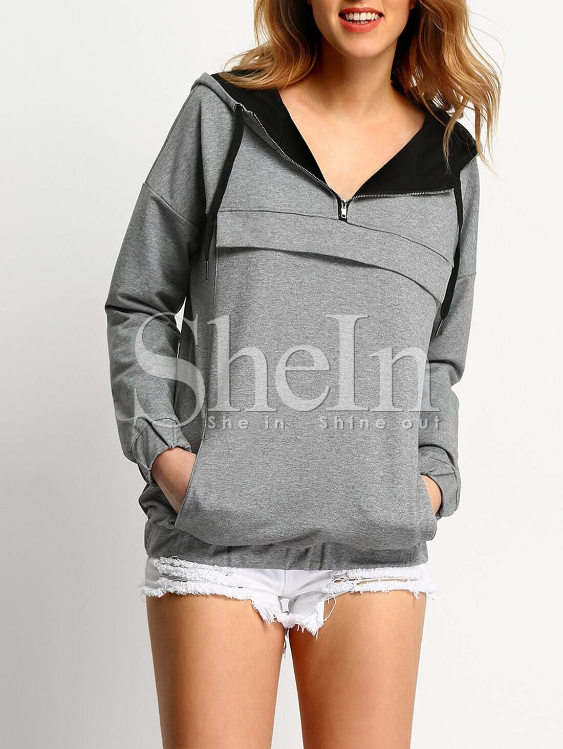 Grey Hooded Zipper Sweatshirt sweatshirt151008501