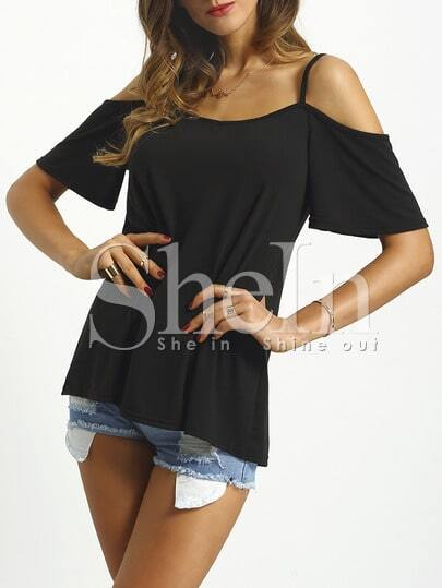 Open Shoulder Loose T-shirt