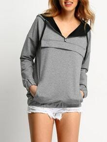 Grey Hooded Zipper Sweatshirt -SheIn(Sheinside)