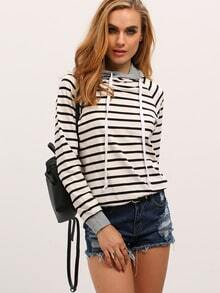 Striped Drawstring Hooded Zipper Sweatshirt -SheIn(Sheinside)