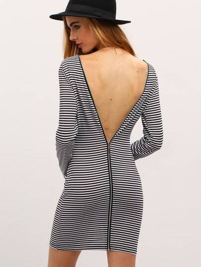 Striped V Cut Out Bodycon Dress With Zipper