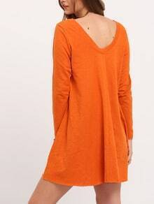 Orange Round Neck Casual Dress