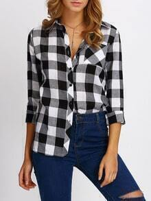 Black White Lapel Plaid Pocket Blouse