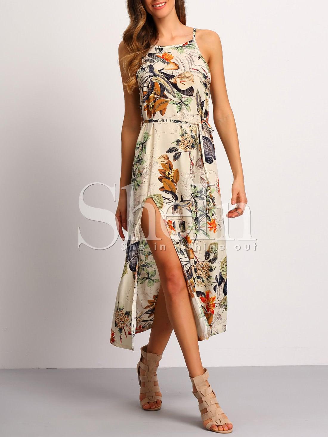 Фото Spaghetti Strap Patterned Backless Split Dress. Купить с доставкой