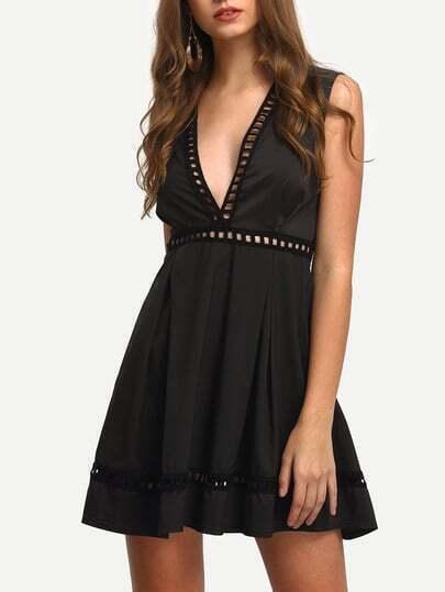Black Deep V Neck Sleeveless Hollow Dress