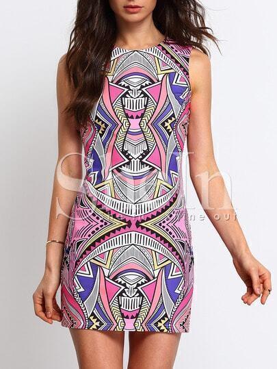 Multicolor Sleeveless Geometric Print Dress